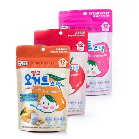 韩妈妈 韩国进口 草莓/芒果/苹果 酸奶溶豆 18g 三种口味三袋装
