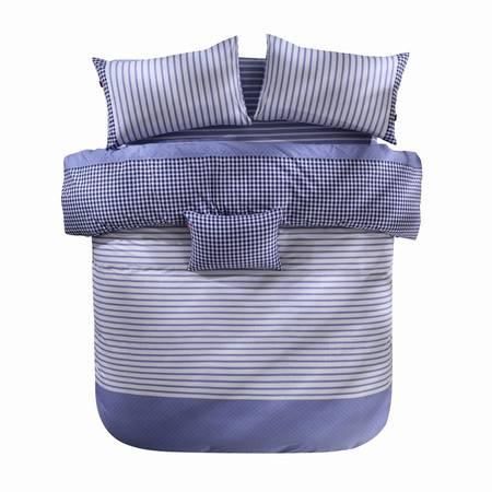 蔻姿家纺高支高密经典北欧全棉斜纹床上用品四件套 尤妮斯-兰 1.8米6957533251543