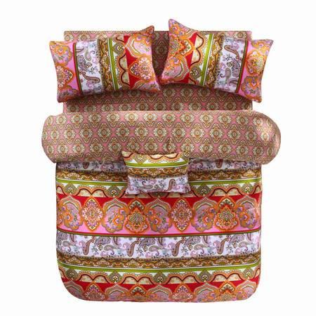 蔻姿家纺高支高密异域风情全棉加厚磨毛床上用品四件套 黛安娜 1.8米6957533251185