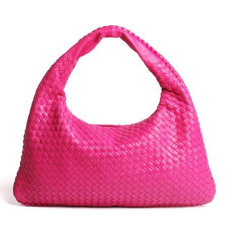 W.DIVA高雅时尚编织山羊皮单肩手提包玫红色Y1300607
