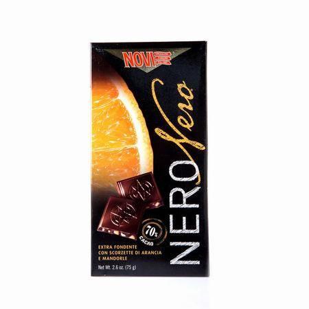 诺维70%特浓橙皮果仁黑巧克力 意大利进口 75g 两块装