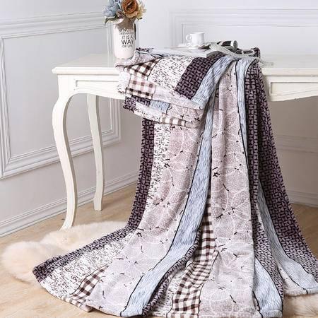 水星家纺印花珊瑚绒毯 简约风情   180x200cm 107851