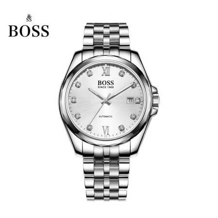 BOSS参议员系列男士钢带钨钢圈口机械腕表B04.1.3.4.2.10A