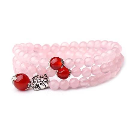 渠玉轩粉色魅影天然芙蓉石粉水晶配红玛瑙多圈手链qyx-pink-sl
