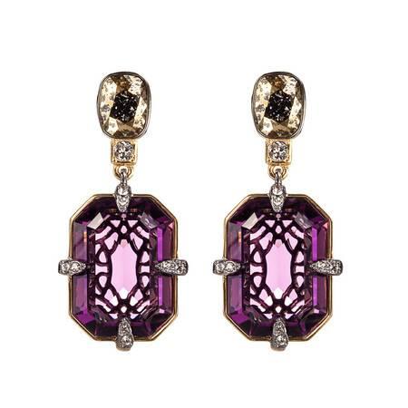 Swarovski施华洛世奇复古紫色穿孔耳环5169065