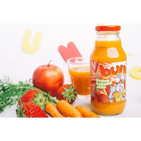 贝尼奥 波兰进口 复合果蔬汁饮料 胡萝卜草莓苹果330 ml 三瓶装