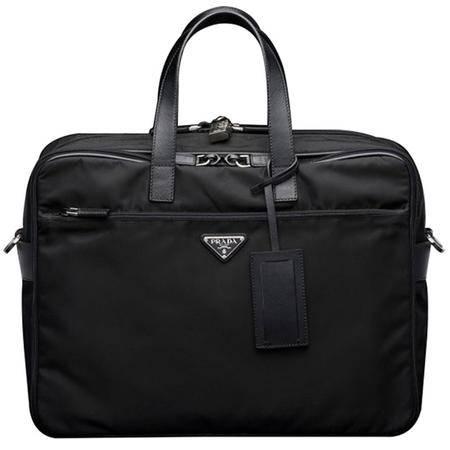 PRADA 普拉达 织物配皮男士笔记本电脑包 V407S_064_F0002 黑色
