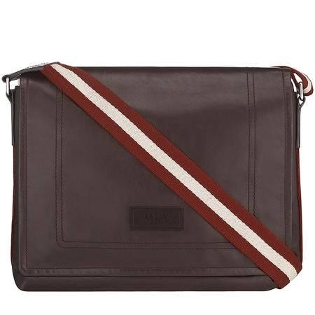 BALLY巴利男士巧克力色皮革邮差包6184565