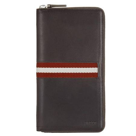 BALLY 巴利男士巧克力色皮革拉链条纹手包钱夹 6167359