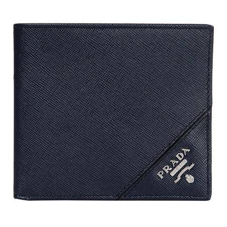 PRADA 普拉达男士藏蓝色Saffiano皮革短款钱夹 2M0513_QME_F0216