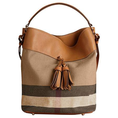 BURBERRY 巴宝莉 女士 中号CANVAS格纹HOBO包 单肩包 39829371 鞍褐色