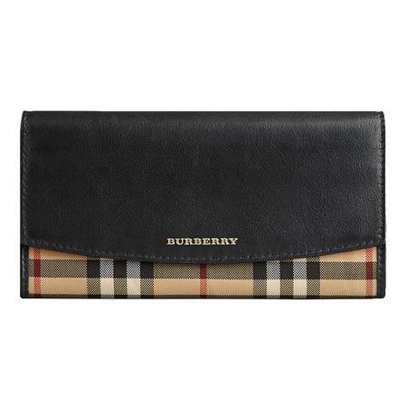 BURBERRY 巴宝莉 女士 HORSEFERRY 格纹皮革长款钱夹 39824531 黑色