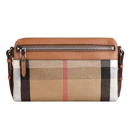 Burberry 巴宝莉 女士小号CANVAS CHECK格纹皮革手拿包 39575041 鞍褐色