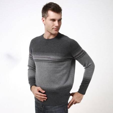 贝龙羊绒 春季新款简约圆领条纹羊绒衫  男士羊毛衫针织毛衣 81242