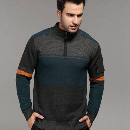 贝龙羊绒 春季新款男拉链领拼接色羊绒衫 简约羊毛衫针织毛衣 81506