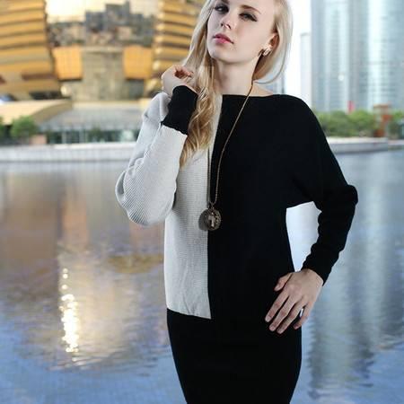 贝龙羊绒 新款时尚修身一字领羊绒衫 女拼接针织衫毛衣  83125