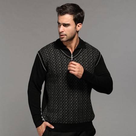贝龙羊绒 春季新款简约翻领图案羊绒衫男加厚羊毛衫针织毛衣 81504