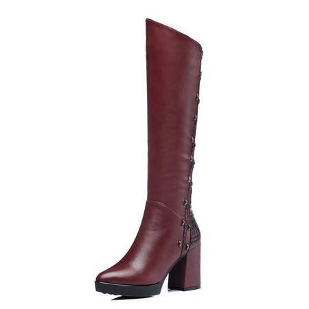 古奇天伦 8091 粗跟女靴 保暖高筒靴 棉鞋 女鞋子