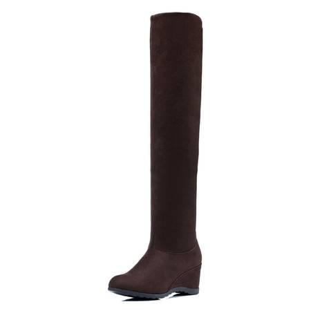 古奇天伦 8055 时尚过膝靴 坡跟女靴 内增高女鞋 棉鞋子