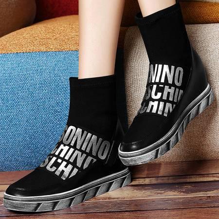 古奇天伦 8280 高帮女靴 平底内增高女鞋子 字母女鞋子