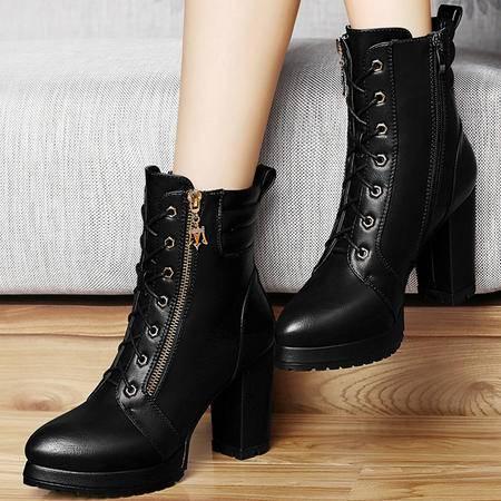 古奇天伦粗跟短靴秋季新款英伦8283马丁靴潮短筒靴子高跟鞋女秋鞋