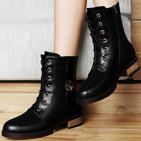 古奇天伦短筒靴子秋季新款粗跟短靴秋款女鞋英伦马丁靴潮秋款8284