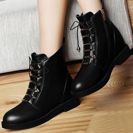 古奇天伦8303内增高短靴2015秋季新款英伦风马丁靴潮短筒靴子厚底女鞋