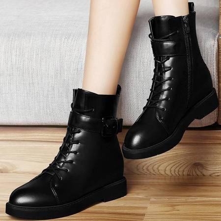 古奇天伦秋季新品内增高女靴时尚圆头短靴金属扣英伦风马丁靴8273