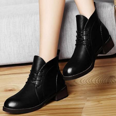 古奇天伦马丁靴女英伦风秋新款粗跟短靴系带短筒女靴女鞋潮8294