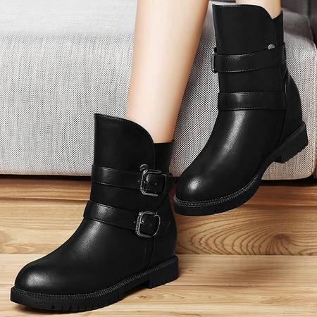 古奇天伦8265新款圆头内增高女鞋高帮金属扣女鞋时尚秋冬品牌女靴