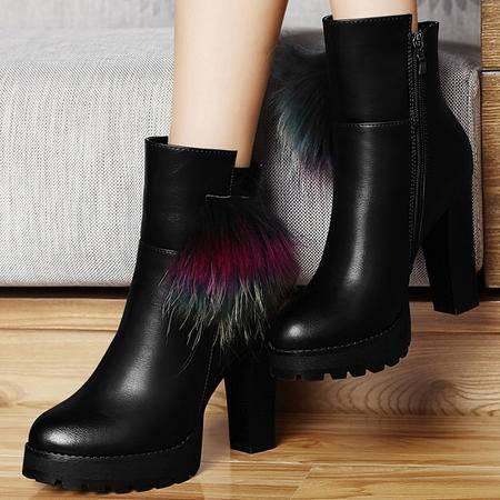 古奇天伦新潮秋季款女靴2015防水台粗跟短靴高跟短筒靴流苏短靴子