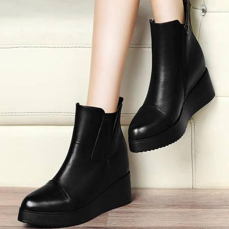 古奇天伦8254秋冬新款单靴圆头粗跟系带短靴女欧美休闲高跟马丁靴