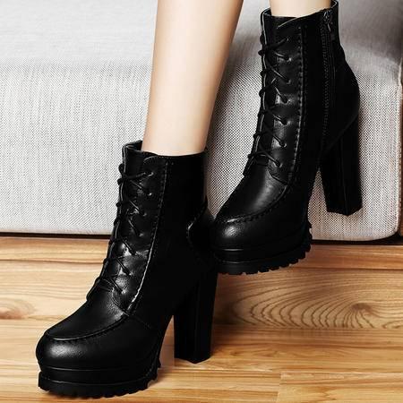古奇天伦马丁靴潮8270秋季新款高跟短靴粗跟短筒女靴子英伦风女鞋