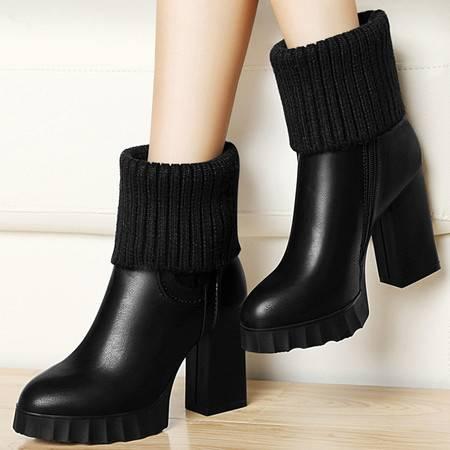 古奇天伦短筒靴子8311秋季新款粗跟短靴厚底高跟女鞋英伦马丁靴潮