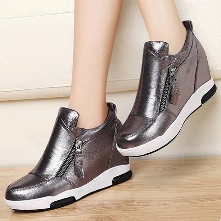 古奇天伦8325秋冬上新款内增高休闲鞋厚底单鞋坡跟女鞋英伦运动鞋