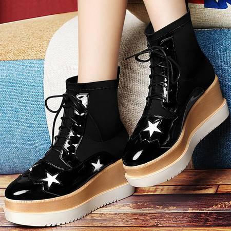 古奇天伦中筒靴女秋2015新款韩版平底单靴圆头马丁靴平跟女靴子潮