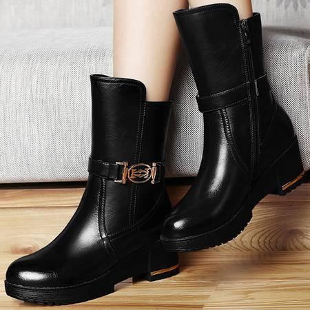 古奇天伦短筒靴子秋冬季新款英伦风马丁靴潮高跟女鞋粗跟短靴