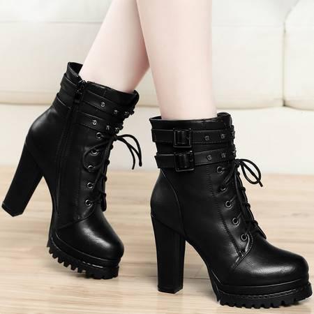 古奇天伦8102秋冬新款时尚马丁靴女短靴粗跟英伦风高跟鞋子中筒女士靴子