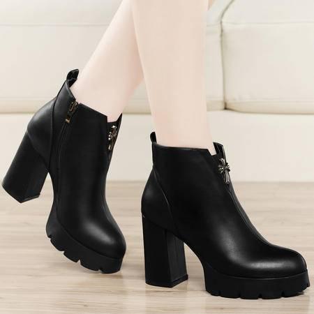 古奇天伦马丁靴潮女短靴2015秋季上新高跟粗跟裸靴单靴欧美女靴子