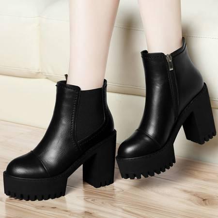 古奇天伦马丁靴女英伦风短靴粗跟踝靴秋冬季上新款女鞋女靴子