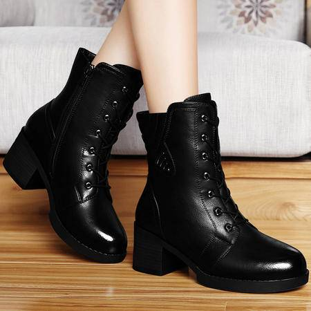 古奇天伦秋新款女靴高跟女短靴复古潮靴圆头系带靴子粗高跟鞋