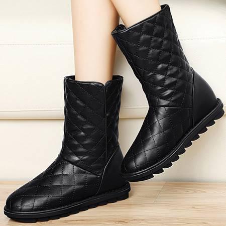 古奇天伦8320雪地靴女秋冬季新款潮内增高中筒靴中跟圆头保暖女靴