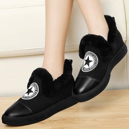 古奇天伦8327棉鞋女学生休闲鞋冬季加绒懒人鞋平底单鞋厚底内增高女鞋