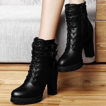 百年纪念新品高跟女靴子短筒马丁靴粗跟短靴英伦潮女鞋