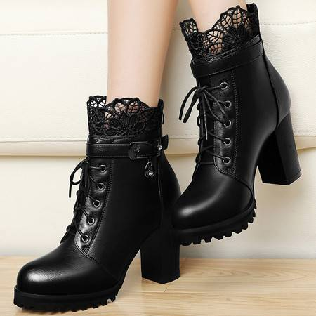 百年纪念高跟女靴1130秋冬新品粗跟短靴蕾丝短筒靴欧美性感裸靴