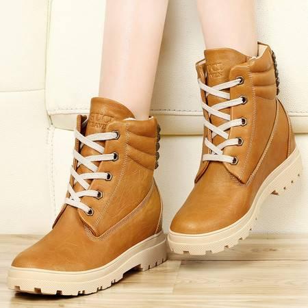 古奇天伦7798女鞋秋冬季新款学生中跟内增高女靴子短筒马丁靴潮女短靴