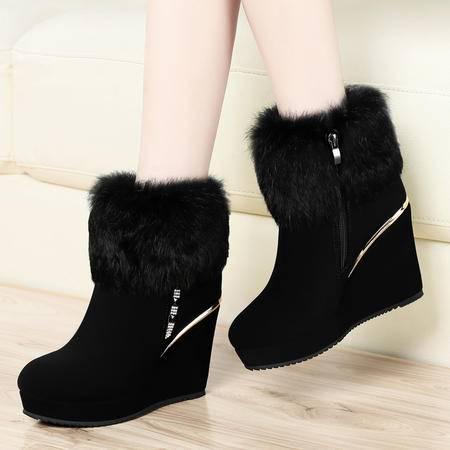 古奇天伦女鞋冬季8123新款坡跟短靴雪地靴加绒加厚兔毛时尚女靴子
