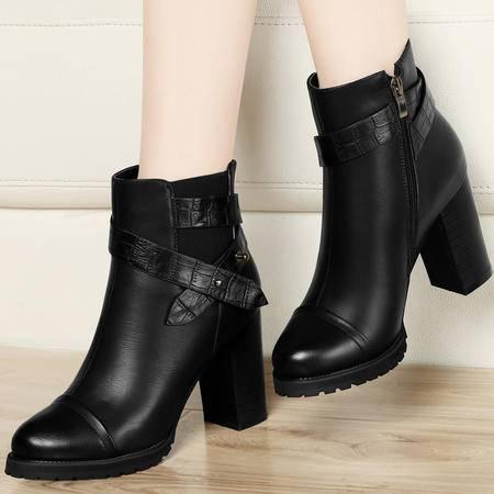古奇天伦粗跟女靴8070秋冬季新款短筒靴子马丁靴潮女短靴高跟女鞋