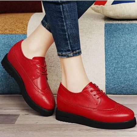 古奇天伦8365平底鞋女鞋单春季新款平跟英伦圆头系带低帮牛津鞋