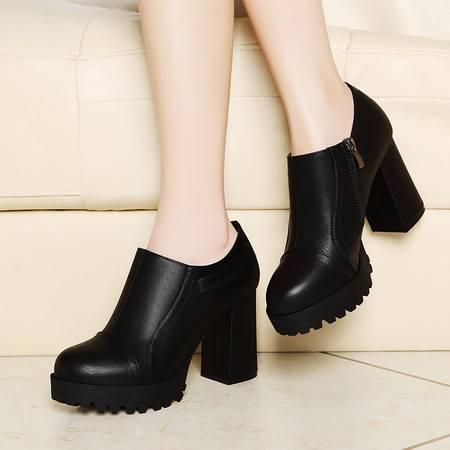 古奇天伦粗跟单鞋春季女鞋子8142新款春秋高跟鞋女皮鞋黑色工作鞋